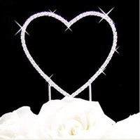 Wholesale Hot Item quot High Quality A Grade Clear Rhinestone single Heart Wedding or Anniversary Cake Topper
