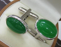 Wholesale Chic nice men s green jade oval White steel Cufflinks