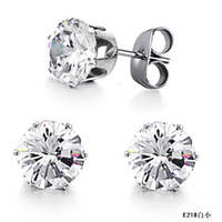 Wholesale STAINLESS STEEL CRYSTAL DIAMOND STUDS EARRINGS FASHION JEWELRY HOT SELLING E218s