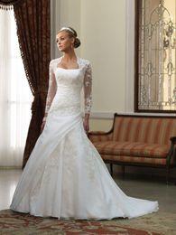 Wholesale 2012 Organza A line Lace wedding dress Button Zip Mira bridal gown jacket Long sleeve bolero