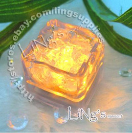 Lowest price-free shipping-12pcs Yellow Ice Cube Light Wedding Party Christmas Decoration