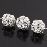 Wholesale 6 MM Silver Plated Clear Crystal Rhinestone Round Ball Spacer Beads Finding Jewelry