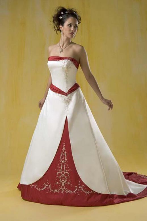 Wholesale Wedding Dress Buy Shining White Red Satin Embroidery