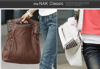 Wholesale coffee punk rivet chain tote bag shoulder bag Large hobos messenger bag handbags bags