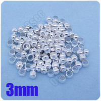 Wholesale Fashion Plated Silver mm Crimps Beads Copper Stopper Beads End Caps Beads Jewelry Finding