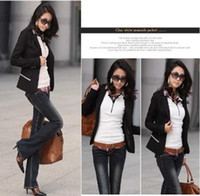 Women Regular Waist_Length Women new spiffy cotton blazer OL slim business suit black Sz M L AA171