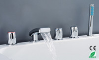 Wholesale Cut throat Price Holes Chrome Polished Waterfall Bathtub Mixer Faucet Tap Y