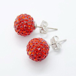 Stylish mix colour earrings with 10mm Pave Micro Disco Ball Red Crystal stud earrings 12pairs