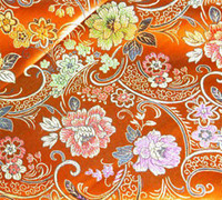 brocade fabric - Chinese Brocade Fabric Shiny Silky Outfit material Orange w Asian flower motif by the yards BR104