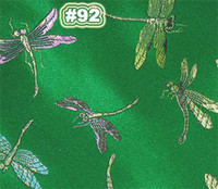 Wholesale Chinese Brocade Fabric Shiny Silky Sewing material Emerald w Dragonflies motif by the yards BR92