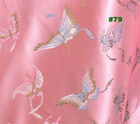brocade fabric - Chinese Brocade Fabric Shiny Silky Sewing material Pink w Butterflies motif by the yards BR79