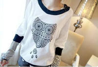 Wholesale New Womens Fashion Owl Pattern Middle Sleeve Tops Tee Lady s Casual Cotton T shirt White