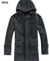 Wholesale New Hot sale Men s Cashmere woolen Hooded Coat Warm coat and long sections Outerwear