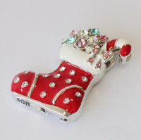 Wholesale Crystal Christmas Shoes USB Flash Drive U Disk GB GB