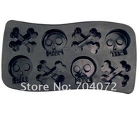 Wholesale 10pcs cavities black Red plastic model cool Skull Ice Cube Maker Soft Chocolate