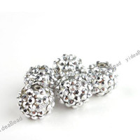 Acrylic, Plastic, Lucite 16mm - 30 Acrylic Charms Spacer Beads Inlay Silver Tone Resin Rhinestone European Shinestone mm
