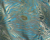 brocade fabric - cbs1 Chinese Brocade Clothing Upoholsetry Fabric Material Peacock Feather Motif Teal Yardage