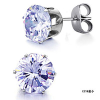 Wholesale STAINLESS STEEL STUDS EARRINGS NEWEST DESIGN good looking studs for lady pairs E218 Blue small