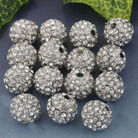 Wholesale White Clear Crystal Spacer Ball Loose Bead MM Rhinestone Pave Beads Gem Findings