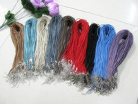 Wholesale 100pcs MIX colour Sheepskin Rope Pretty Cord Suede Leather Rope Necklace Cord with Lobster Clasp