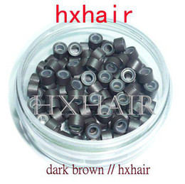 1000pcs 4.5mm With Silicone Micro Aluminium Rings Beads   Black D-Brown Brown L-Brown D-Blond Blond