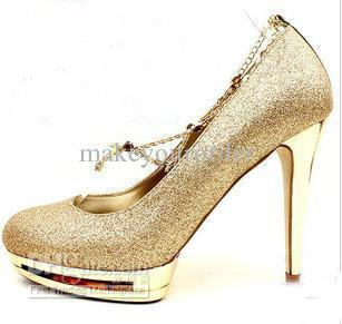 ... wedding shoes to match. Buy Women s Gold Black Red Color Waterproof  Diamond Bow Dazzling 8a76315027df