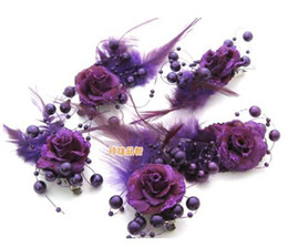 Wholesale From freight hot sale The bride tire Golden flash powder feather flower pieces of beads