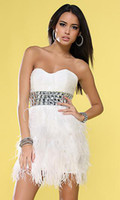 Wholesale 2012 White Black Sweetheart Diamond Beaded Waistband Feather Sexy Prom Dress Fringe Homecoming Dress