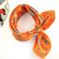 Wholesale popular silk scarf cm cm flower print square scarves with orange color NL B