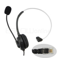 Wholesale Telephone Monaural Headset Communication Mic Pins Crystal Head Unique Design Black C085A