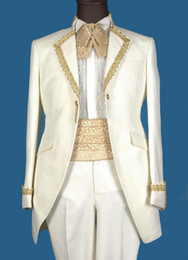 Wholesale Custom Made Real Sample White with Gold Line Groom Tuxedos Suits For Wedding Evening Formal Men Suit