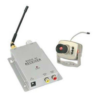Wholesale Wireless Mini pinhole CCTV security surveillance A V audio IR LED RC Camera Receiver e_shop2008