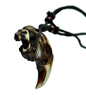 Wholesale OX bone Lion Carved Necklace Pendant Adjustable Maori Handcraft Chain Jewelry