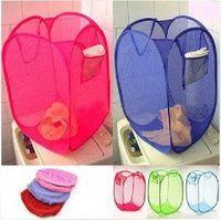 Wholesale 20pcs Folding Color Dirty Clothes Garment Storage Basket Nets Clothing Case Frame Laundry Basket