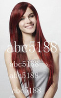 Wholesale Capless Extra Long Straight Red Synthetic Wig Side Bang