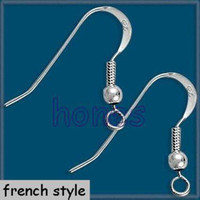 Wholesale Earring Hook Sterling Silver polish French Bead Style MM JF9008