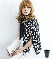 Wholesale Cashmere Pashmina Women Black White Polkadot Dot Long Shawl Scarf