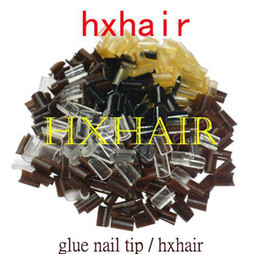 2000pcs Glue Keratin Nail Tip   Mixed Colors   Black DarkBrown Brown LightBrown Blonde Transparent