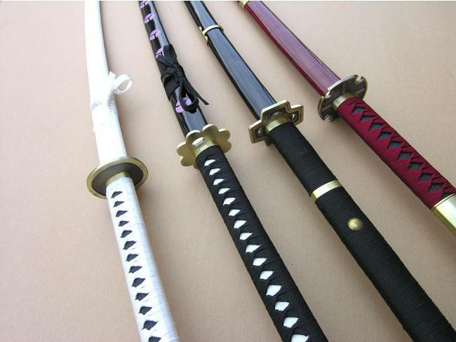 2017 One Piece Anime Sword Cosplay Roronoa Zoro Three Knife Flow From