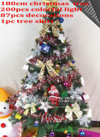 Wholesale 6 FT Folding Christmas Tree Set cm quot with Decorations amp Multiclolor LED Lights