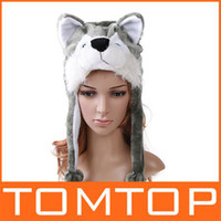 Wholesale 30pcs Cartoon Animal Hat Wolf Plush Winter Warm Hat H1691