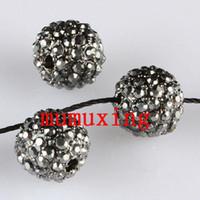 Other ball loose diamonds - 10MM MM Black Diamond Crystal Disco Balls Metal Black Plated Pave Rhinestone Loose Beads