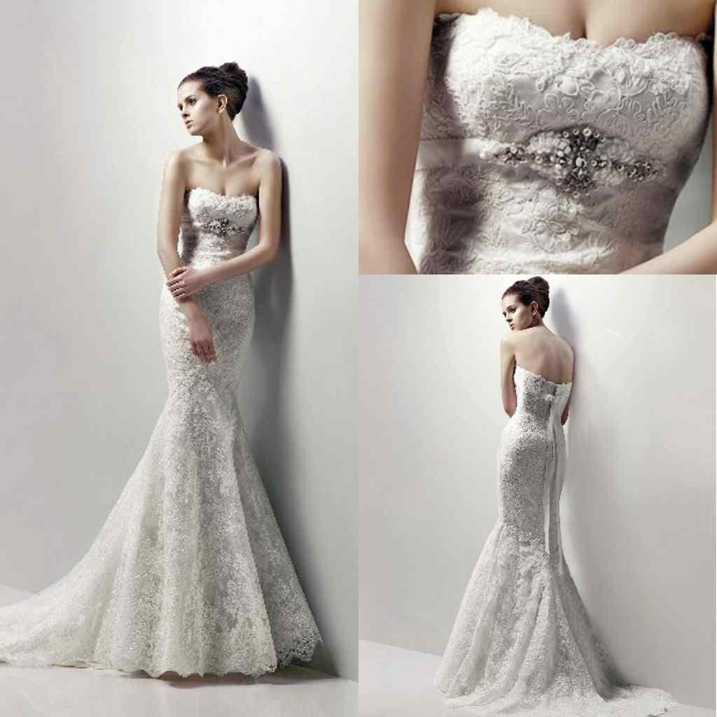 2015 Hot Sale Mermaid Lace Wedding Dresses Luxury Beaded