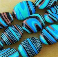 Wholesale 13x18mm Blue Oval Malachite Stone Loose Beads quot