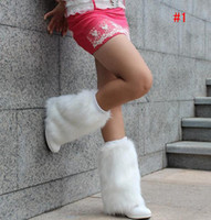 Wholesale women new fashion fur leg warmer muffs sleeve wear warm foot cover strap boots cap loop gaiter