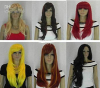 Wholesale wavy curly straight Hair Wigs Red yellow black blue gray green pink treasure wig