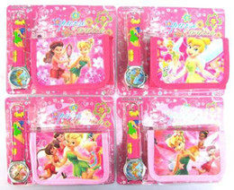 Wholesale Of sets New Tinker Bell Cartoon Watches And Wallet Sets