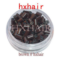 Wholesale 2000pcs mm With Silicone Copper Tube Micro Rings Links Beads I Tip Hair Extension Tools