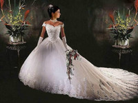 Wholesale Fancy Off the shoulder V neck Empire Ball Gown Chapel Train Bridal Dresses A line Wedding Dress
