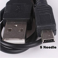 Wholesale 50pcs black USB To Mini USB PIN cable Mini USB Sync data cable for MP3 MP4 player